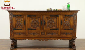 Italian Style Small Carving Natural Finish Sideboard