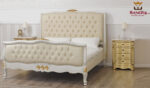 King Size Crackle Base & Gold Leafing Double Upholstered Headboard Bed