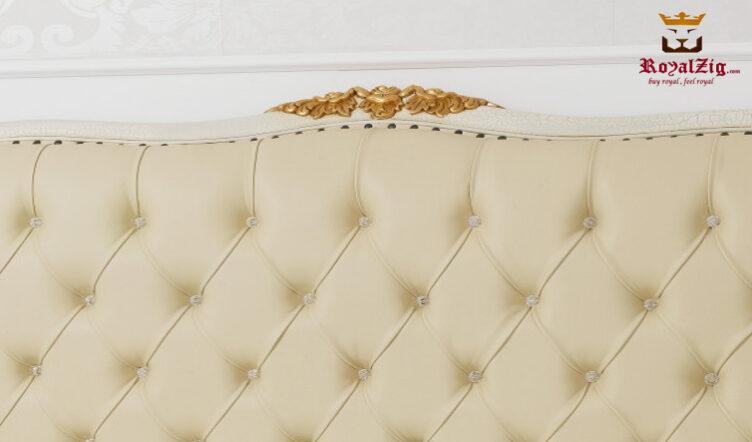 King Size Crackle Base & Gold Leafing Double Bed Made Of Teak Wood Brand Royalzig