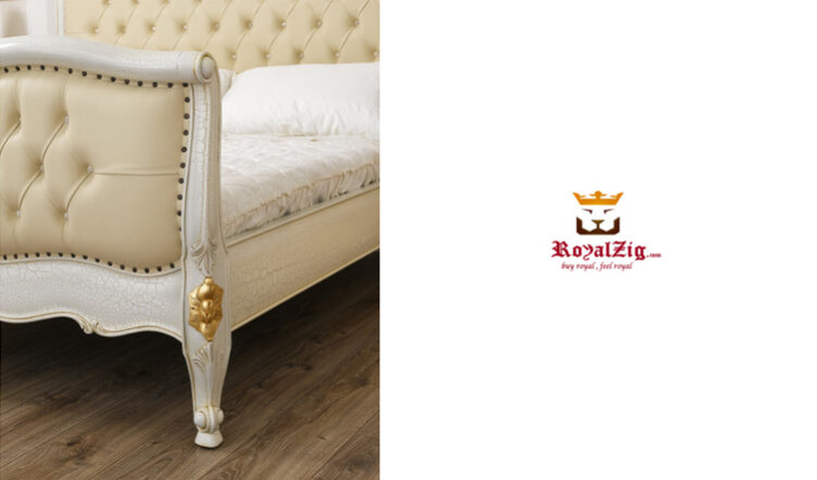 King Size Crackle Base & Gold Leafing Double Bed Made Of Teak Wood Brand Royalzig Buy Online