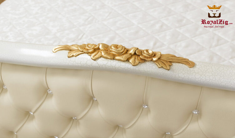 King Size Crackle Base & Gold Leafing Double Bed Made Of Teak Wood Brand Royalzig Made In India