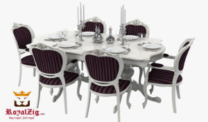 Lokhandwala Classic Ivory Carving Dining Table Online in India