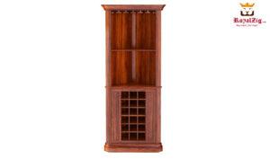 Louis Rustic Solid Wood Corner Bar Cabinet
