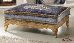 Luxury Italian Style Golden Ottoman Bench