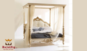 Luxury Italian Style Hand Carved Four Poster Bed Online in India