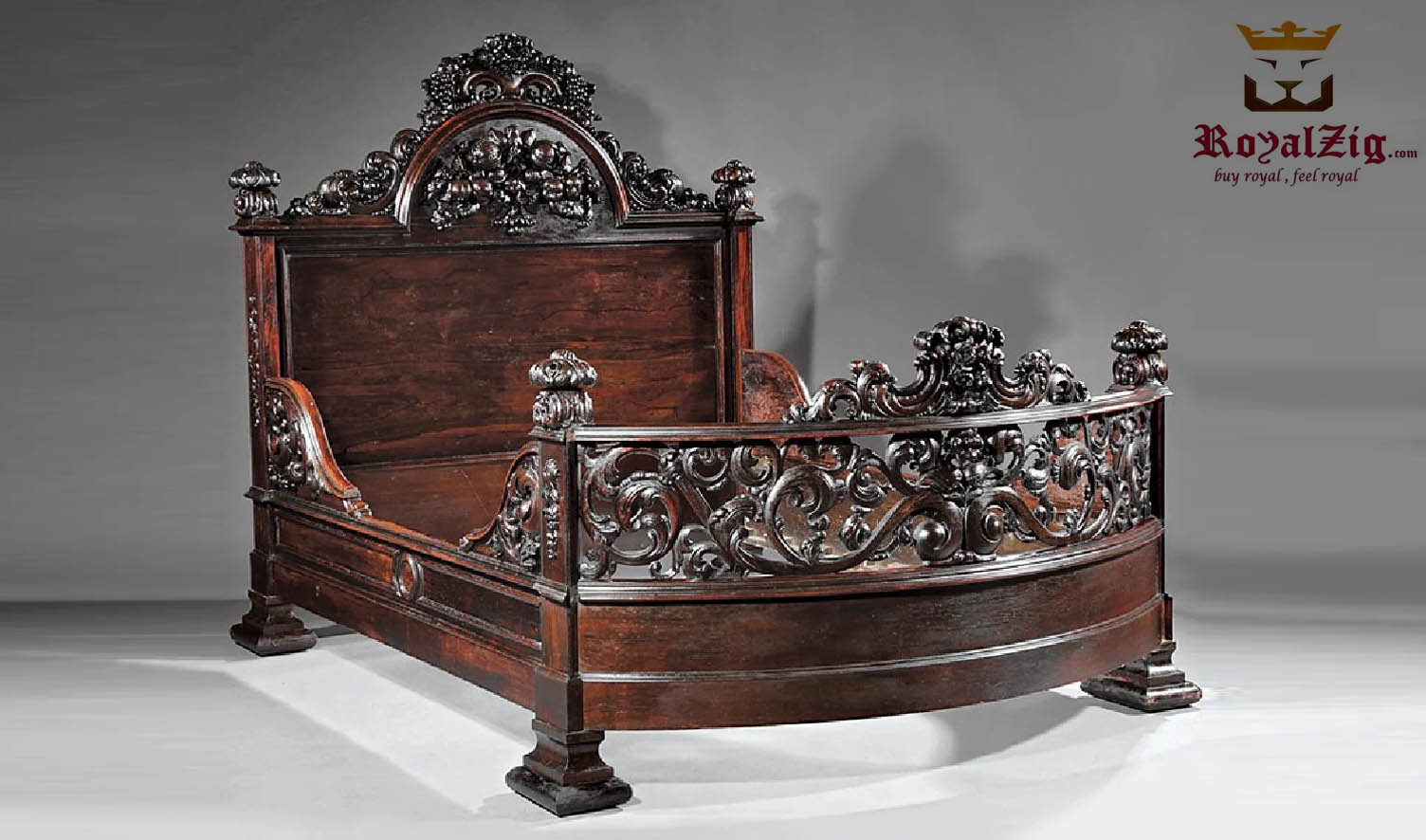 Indian Maharaja Style Carved Antique Sheesham Bed Buy Online in India Brand Royalzig Luxury Furniture