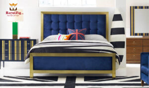 Mason Tufted High Headboard Metal Bed Brand Royalzig Luxury Furniture, Buy Royal Feel Royal