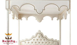 Modern Style Upholstered Four Poster Bed Online in India