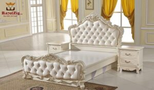 Munro Italian Classic High Headboard Carving Bed Online in India