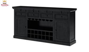 New Delhi Large Rustic Solid Wood Black Bar Buffet Cabinet