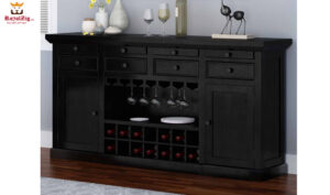 New Delhi Large Rustic Solid Wood Black Bar Buffet Cabinet