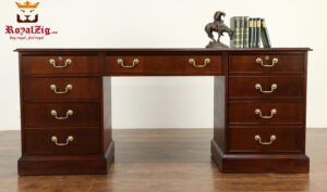 Nikolas Antique Style Walnut Office Desk