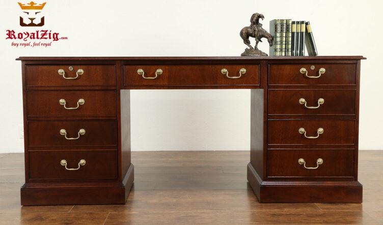 Nikolas Antique Style Walnut Office Desk
