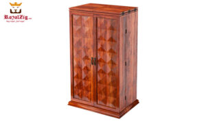 Rosewood Rustic Bar Cabinet With Bottle Storage and Wine Rack