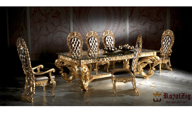 Royal Golden Crafted Dining Table Online in India