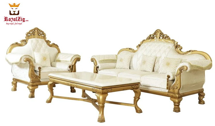 Royal Golden Hand Carved Sofa Set