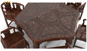 Royalzig Antique Luxury Hand Carving Dining Table Set Online in India