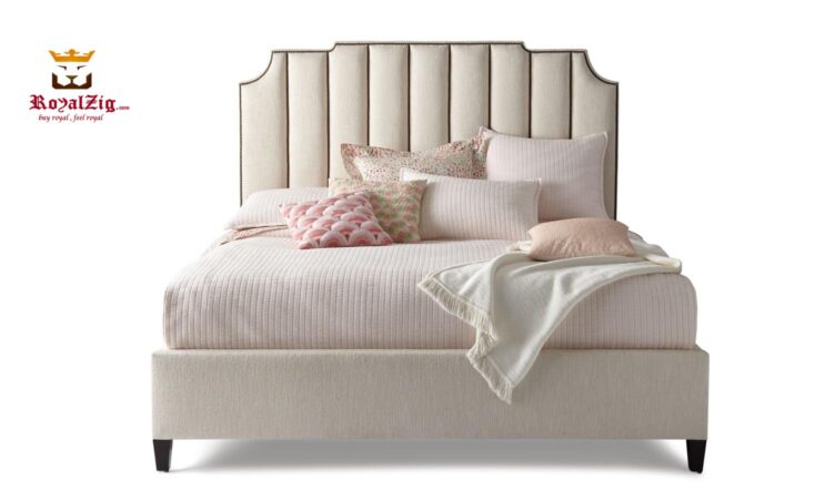 Royalzig Ivory Channel Tufted Queen Bed Brand Royalzig Luxury Furniture