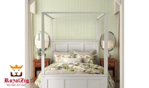 Sara White Modern Italian Style Four Poster Bed Material Grade 1 Teak Wood Online in India