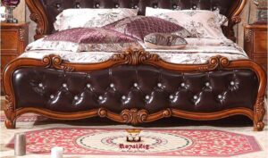 Shanghai Hand Carved Teak Wood Luxury Bed Online in India