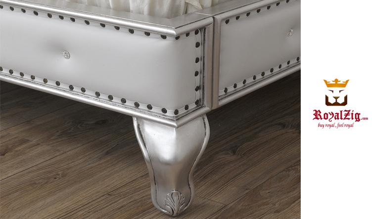 Siliva Hand Caved Tufted Headboard Duble Bed Brand Royalzig Luxury Furniture