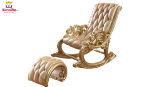Royal Golden Hand Carved Rocking Chair