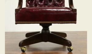 Traditional Antique Style Dark Walnut Swivel Office Desk Chair