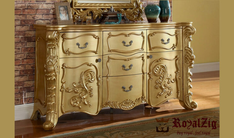 Traditional gold Chest Of Drawers hand carved