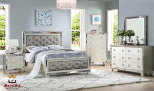 Tufted Headboard Metal Flack Platform Bed