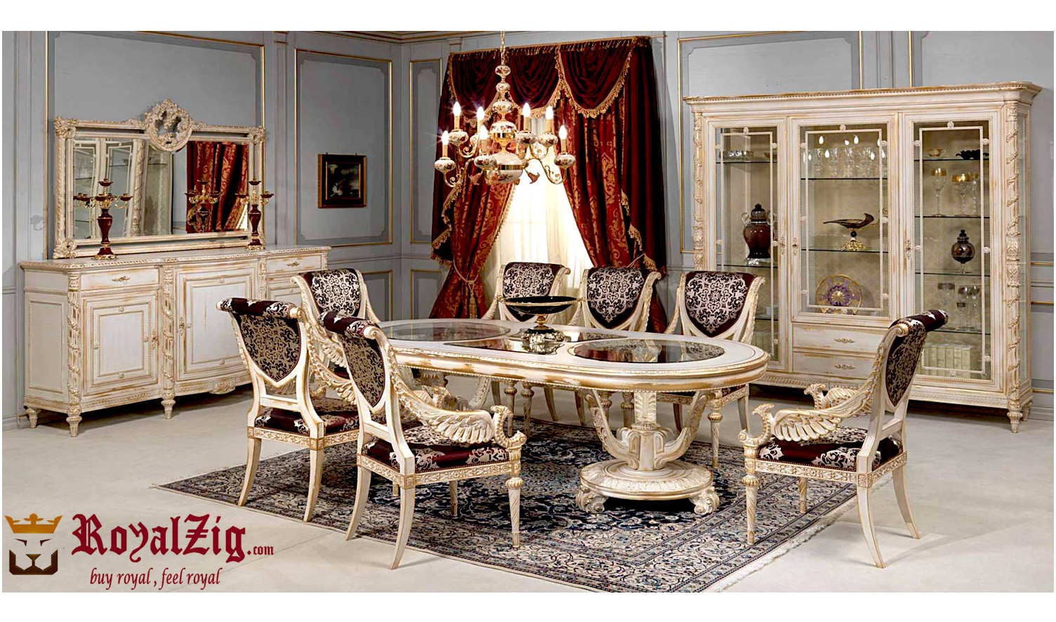 Victorian Wooden Dining Table Set Royalzig