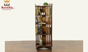 Vintage Antique Style Teak Wood Swivel Bookshef