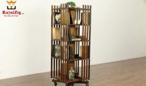 Vintage Antique Style Teak Wood Swivel Bookshelf
