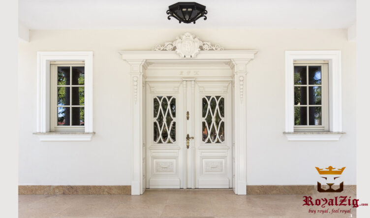 Wooden Hand Carved White Doors