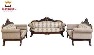 Ankleshwar Handicraft Teak Wood Sofa Set with walnut finish