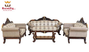 Ankleshwar Handicraft Teak Wood Sofa Set with walnut finish