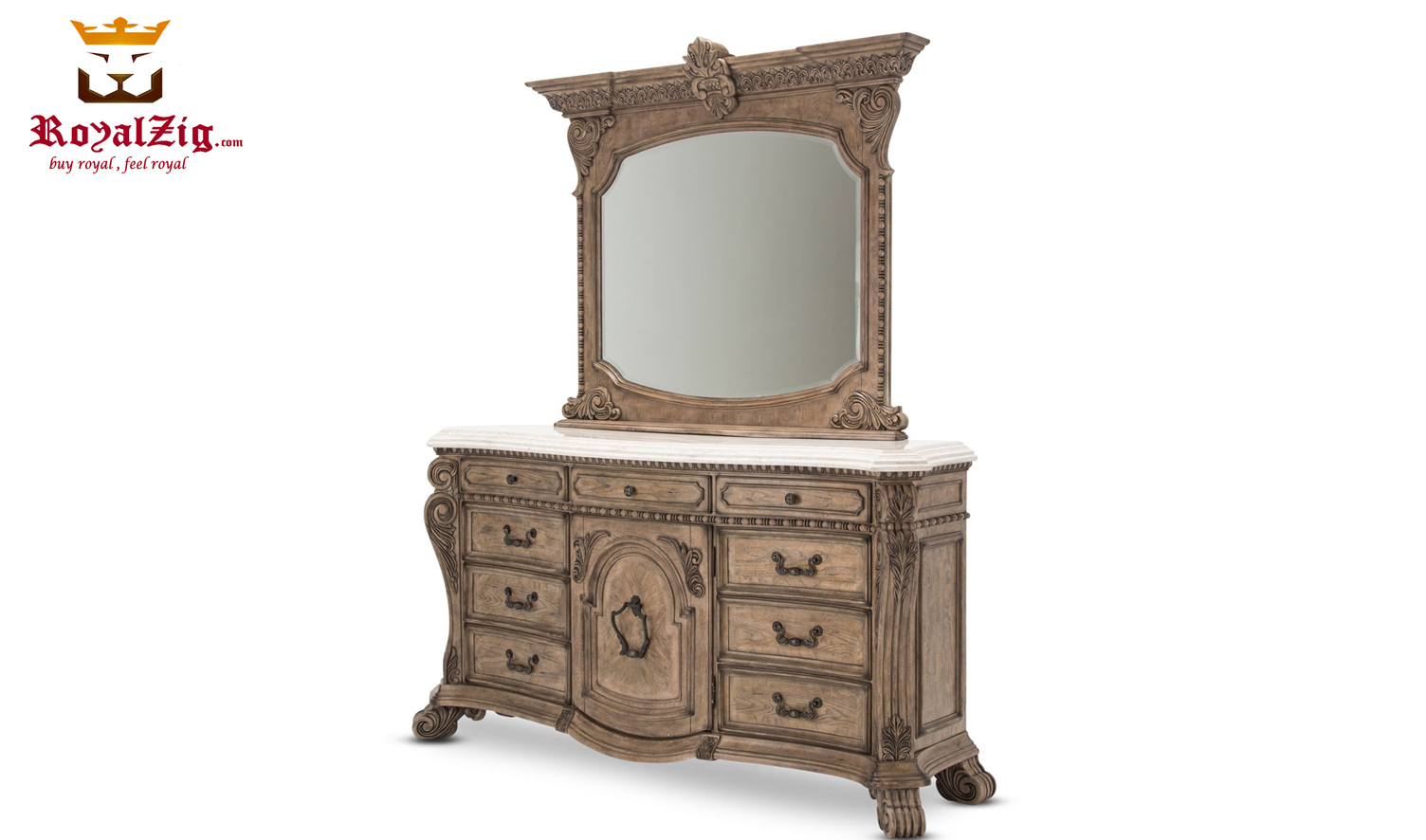 American Vintage Style Dressing Unit With Mirror Frame