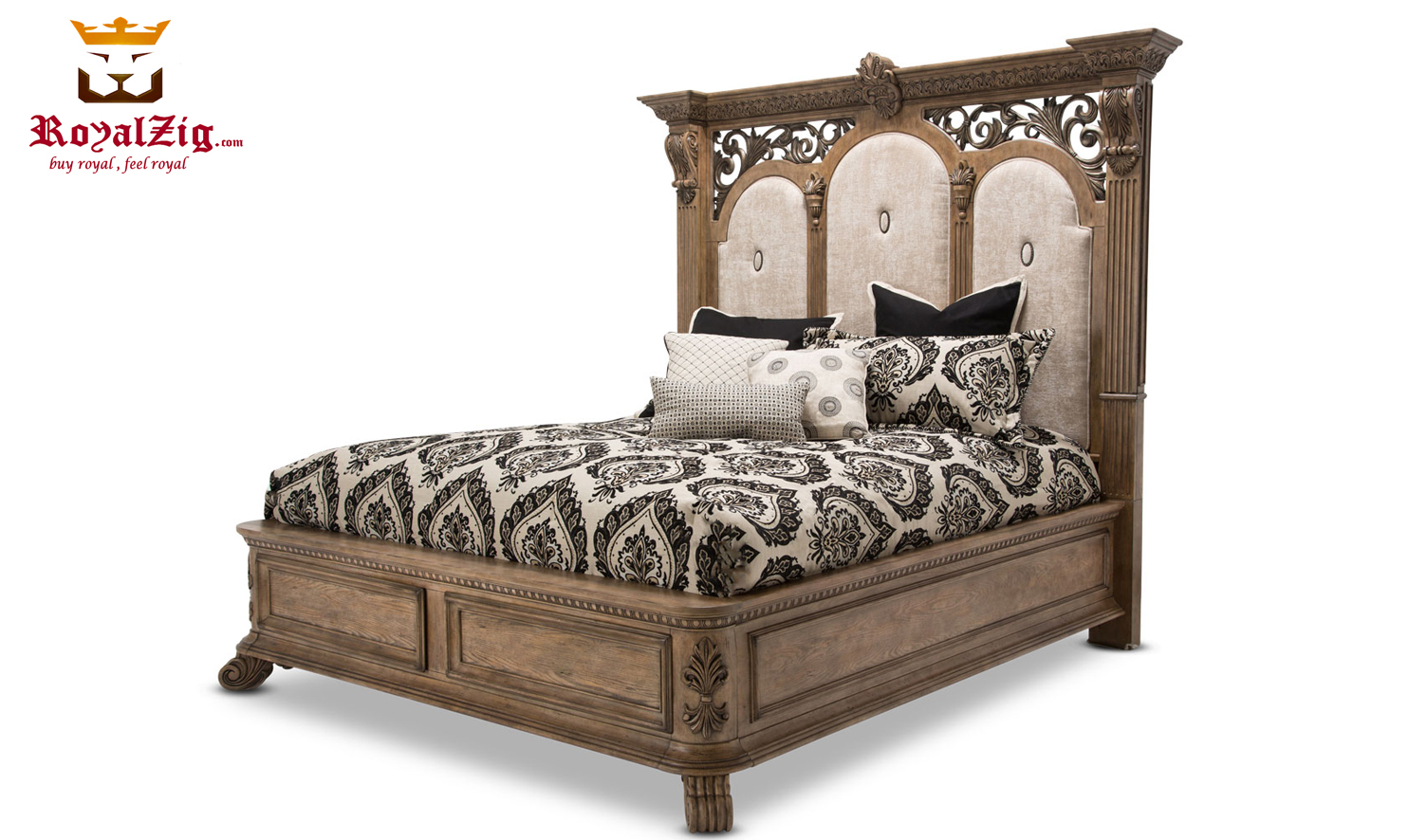 American Vintage Style High Headboard Solid Wood Panel Bed