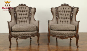 Antique Style Hand Crafted Tufted Wing Chair
