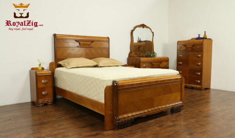 Antique Style Natural Teak Wood Color Bedroom Set