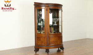French Style Small Carving Walnut Display Curio Cabinet