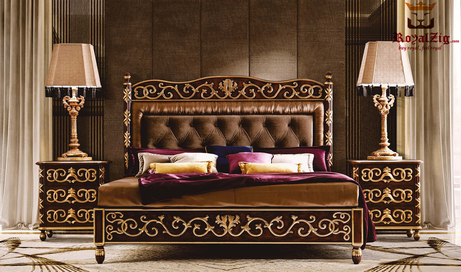 Lisa Hand Carved Royal Motif Bedroom Set