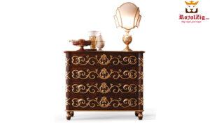Lisa Hand Carved Royal Motif Bed Nightstand Brand Royalzig