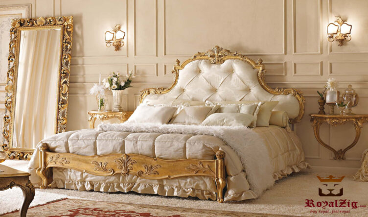 Rome Beautiful Italian Style Antique Golden Bed