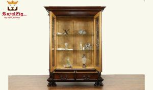 Royalzig Handcraft Teak Wood Dark Walnut Display Curio Cabinet