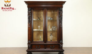 Royalzig Handcrafted Teak Wood Dark Walnut Display Curio Cabinet