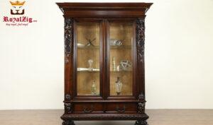 Royalzig Handcrafted Teak Wood Dark Walnut Display Curio Cabinet