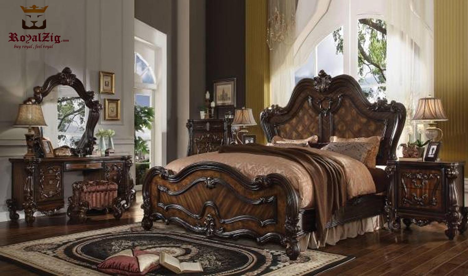 San Antonio Antique Style King Size High Headboard Bedroom Set
