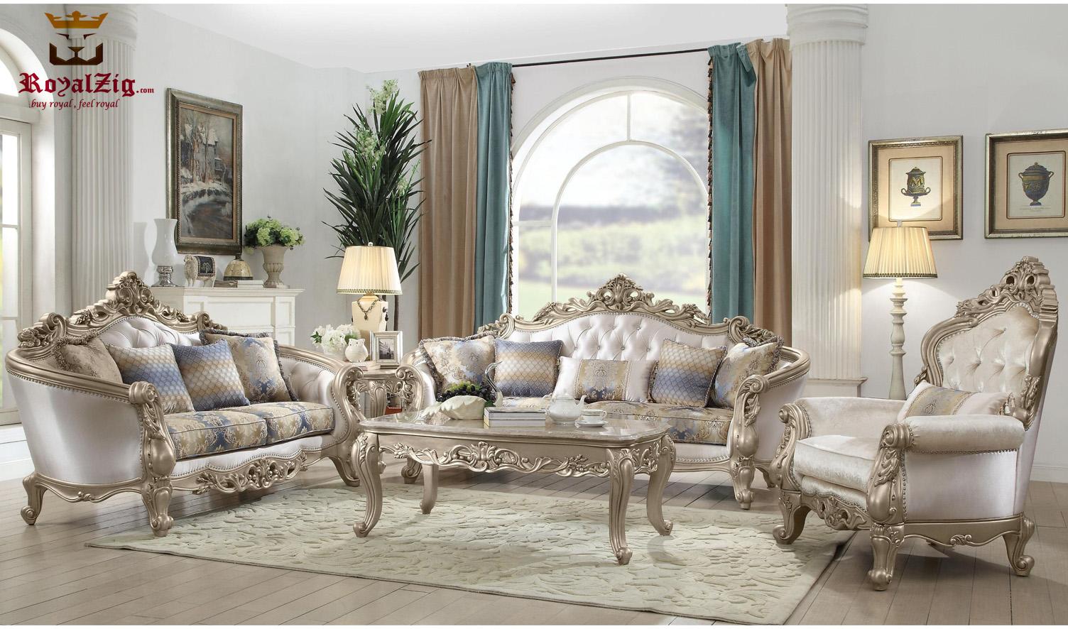 Golden Teak Wood Hand Carved Sofa Set