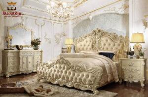 Designer Hand Carved Luxury Pearl Collection Bedroom set