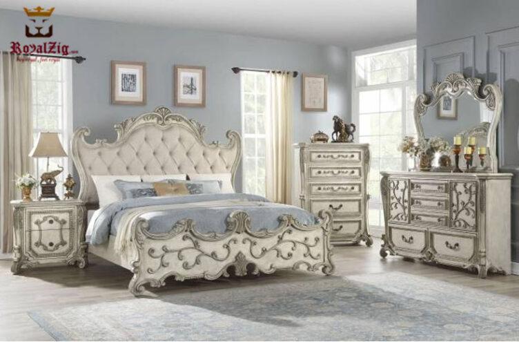 Designer Teak Wood Antique Queen Collection Bedroom Set